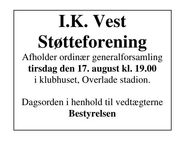Generalforsamling IK. Vest støtteforening
